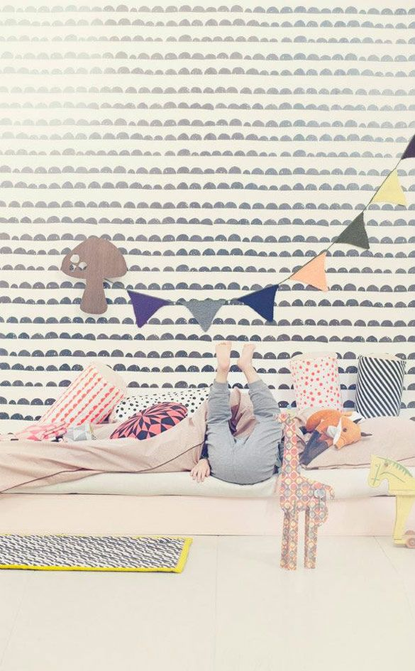 Kids playroom by Ferm Living. love the wallpaper and the fun animals