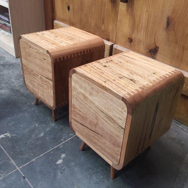 solid messmate timber curved bedside tables