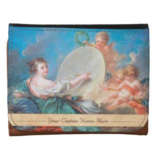 Allegory of painting Boucher Francois rococo lady Leather Tri-fold Wallet #allegory #painting #boucher #Paris #France #art #woman #girl #cherubs #angels #rococo #accessory #gifts #classic #customizable #home #decoration