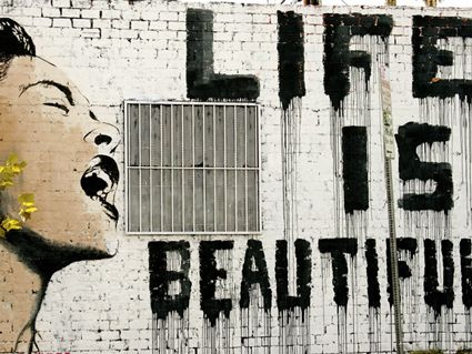 banksy leinwand life is beautiful ab 24x18cm shops life and beautiful. Black Bedroom Furniture Sets. Home Design Ideas