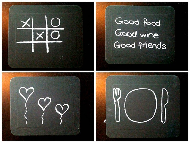 chalkboard place mats!  We were just talking about this at MOPS!