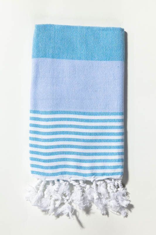 Ottoloom Ibiza Toddler Turkish towel in Aqua Blue. Hand loomed with 100% GOTS certified organic cotton.