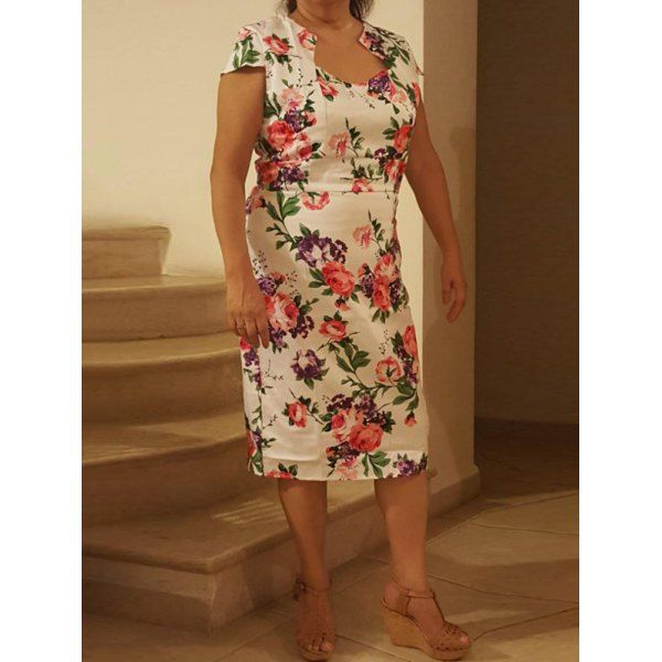 Cheongsam Floral Pattern Bodycon Dress - RED WITH WHITE 2XL