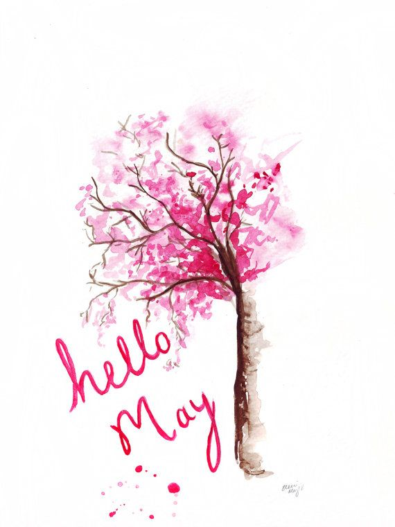 Watercolour Illustration Titled Hello May By FallintoLondon