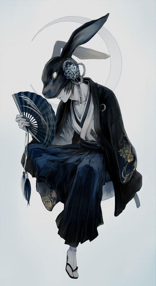 kimono, cool, rabbit, boy, anime, art, usagi, and Japanese culture image