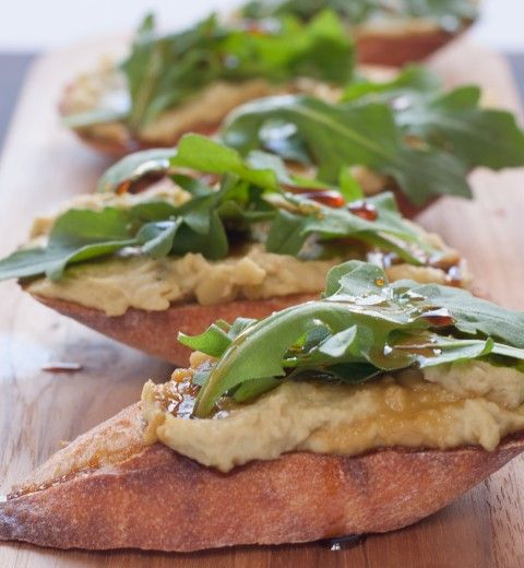 Crostini Recipe with Smoked Olive Oil, Fava Bean and Roasted Garlic H ...