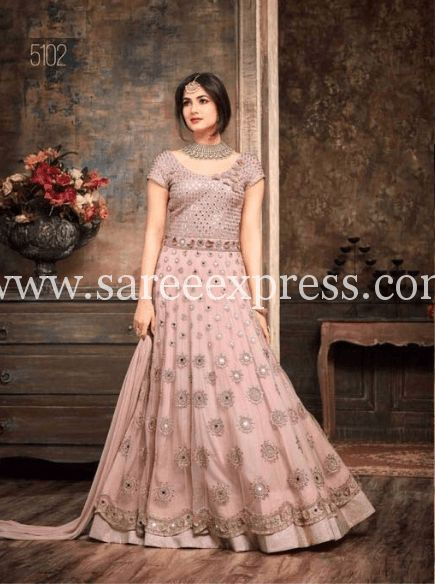 Net Abaya Style Embroidered Anarkali Suit