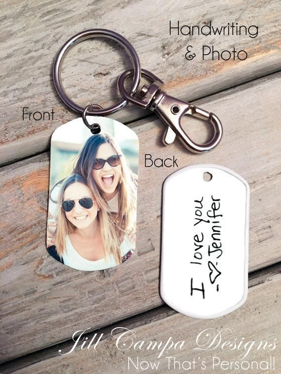 Handwriting And Photo Dog Tag Key Chain Diy Gifts For Boyfriend