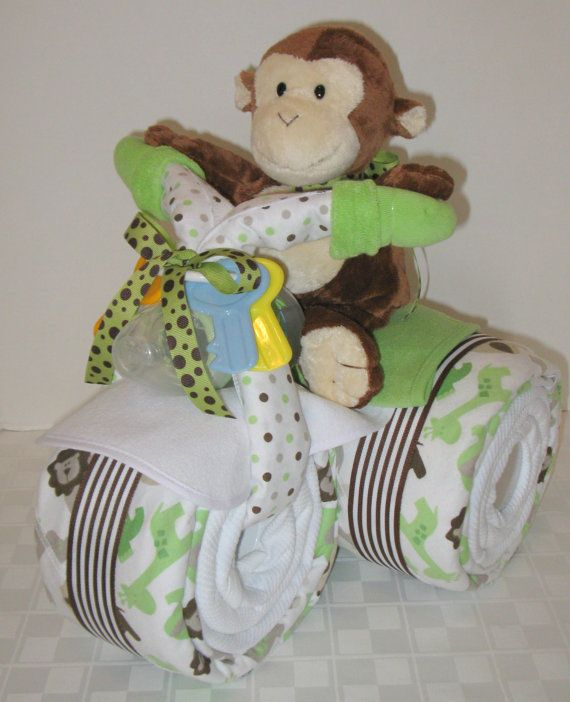 motorcycle bike diaper cake baby shower gift centerpiece baby cake