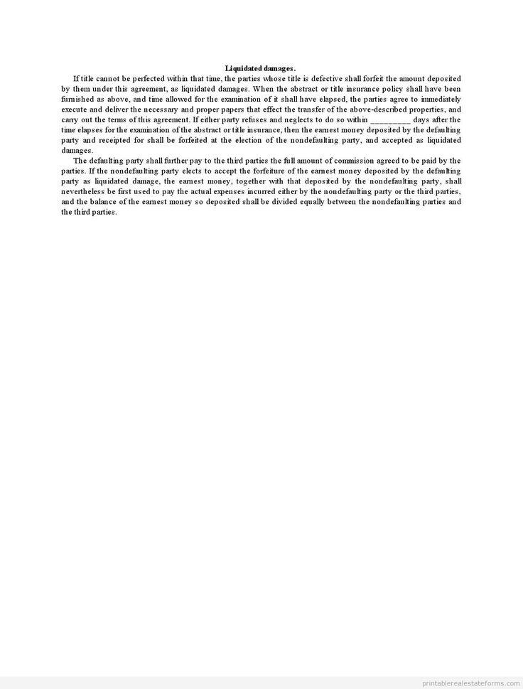 Sample Printable liquidated damages Form