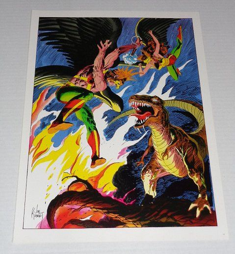 Rare vintage original 1970's DC Comics Hawkgirl & Hawkman poster pin-up 1 with artwork by Joe Kubert: 1978 Classic DC Universe pinup poster