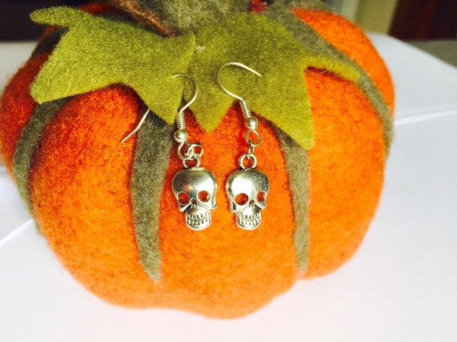 Halloween - Skull Earrings - Fancy Dress - Sterling Silver or Silver Plated by Makewithlovecrafts on Etsy