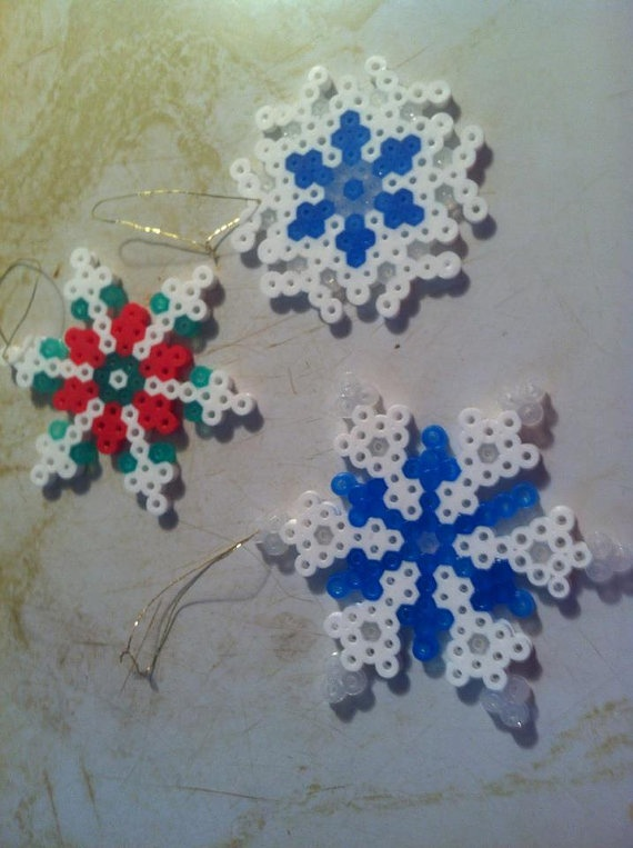 Perler beads snowflakes ornaments