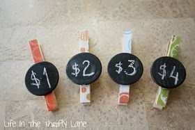 clothespins with chalkboard circles = price tags