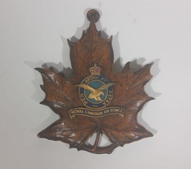 Vintage R.C.A.F. Royal Canadian Air Force Genuine Durwood Leaf Wall Hanging https://treasurevalleyantiques.com/products/vintage-royal-canadian-air-force-durwood-leaf-wall-hanging #Vintage #RCAF #RoyalCanadianAirForce #Royal #Canadian #Canada #AirForce #Military #Genuine #Durwood #Wood #Leaf #MapleLeaf #WallDecor #Decor #JohnWalterAndSons #Kitchener #Ontario