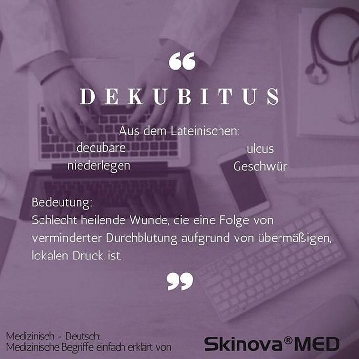 """Medizinische Begriffe erklärt von Skinova®MED ⠀ Heute der Fachbegriff """"Dekubitus"""".⠀ ⠀ Das Wort Dekubitus setzt sich aus zwei lateinischen Wörtern zusammen: ⠀ """"Decubare"""" kann mit """"liegen, niederlegen"""" übersetzt werden. ⠀ Mit dem Begriff """"ulkus"""" wird hingegen ein Geschwür bezeichnet. ⠀ Daraus ergibt sich, dass ein Dekubitus ein Geschwür aufgrund einer aufliegenden Stelle und dem damit verbundenen Druck ist. ⠀ Einfach ausgedrückt: Eine lokale Druckstelle auf der Haut, die durch  fehlende b..."""
