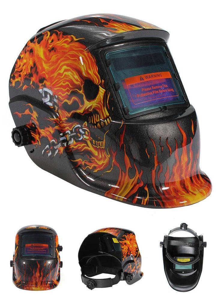 [Visit to Buy] Automatic Darkening Skull Solar Auto Darkening MIG MMA Electric Welding Mask/Helmet/welder Cap/Welding Lens for Welding Machine #Advertisement