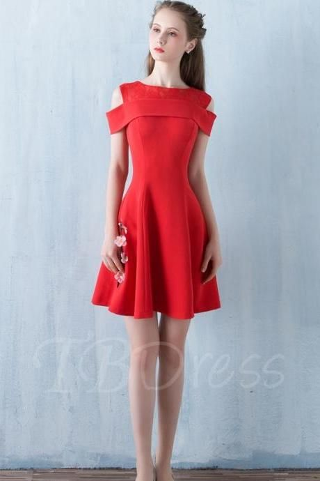 F155 A-Line Off-the-Shoulder Lace Mini Zipper-Up Homecoming Dress,Short Red Bridesmaid Gowns