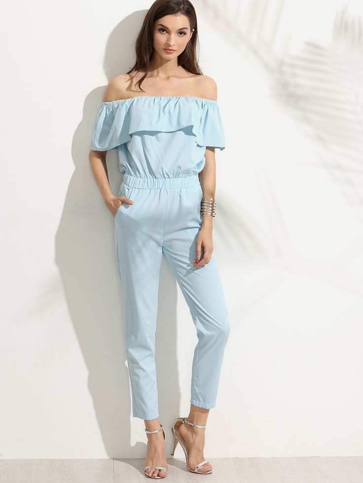 Shop Blue Off The Shoulder Ruffle Jumpsuit online. SheIn offers Blue Off The Shoulder Ruffle Jumpsuit & more to fit your fashionable needs.