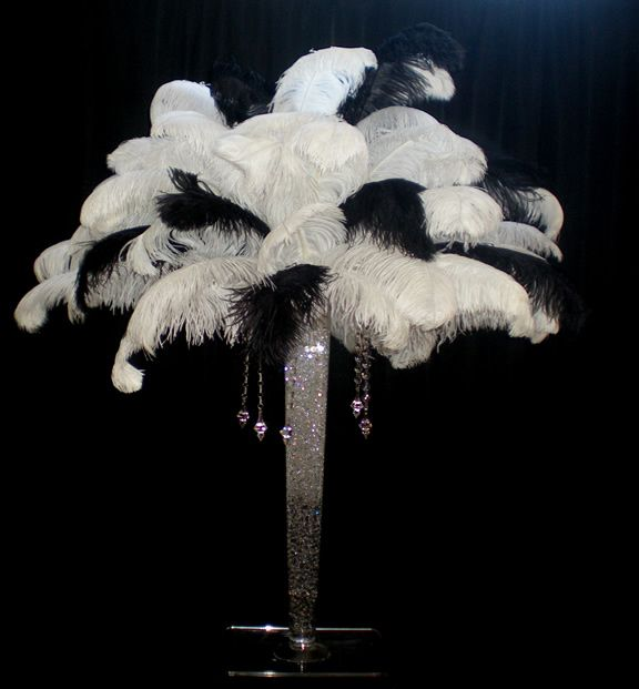 The Feather Diva: Black and White Theme feather Centerpieces