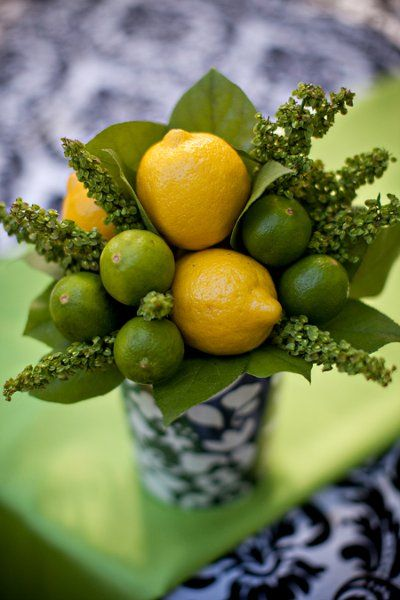 Beautiful lemon and lime centerpiece {Kylene and Ryan Studios}