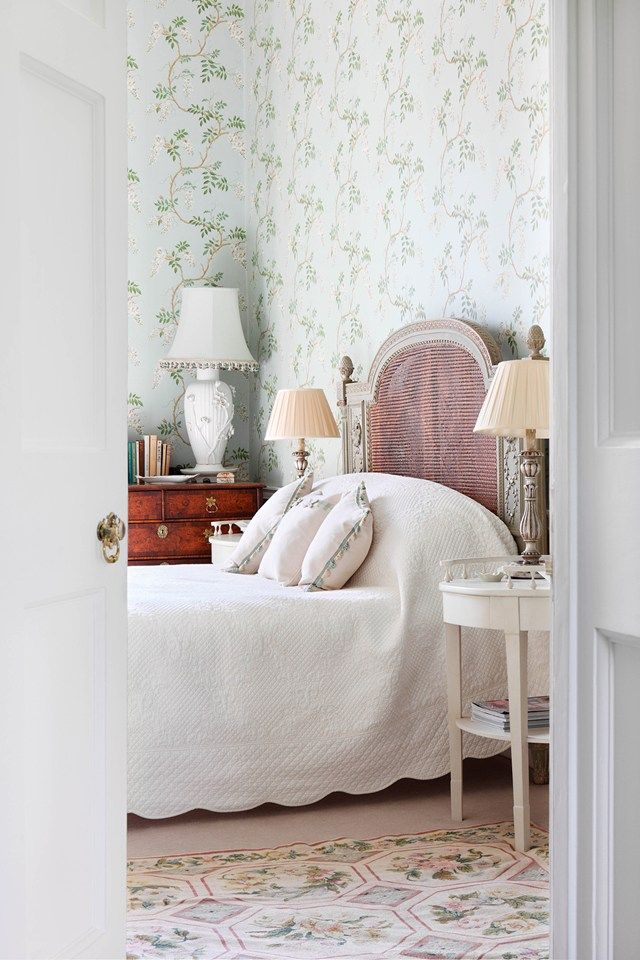 A spare room is papered in 'Alderney' from Colefax and Fowler  Caroline Harrowby, Georgian Town House - The May 2015 issue of House & Garden. Photography by Alexander James.(houseandgarden.co.uk)