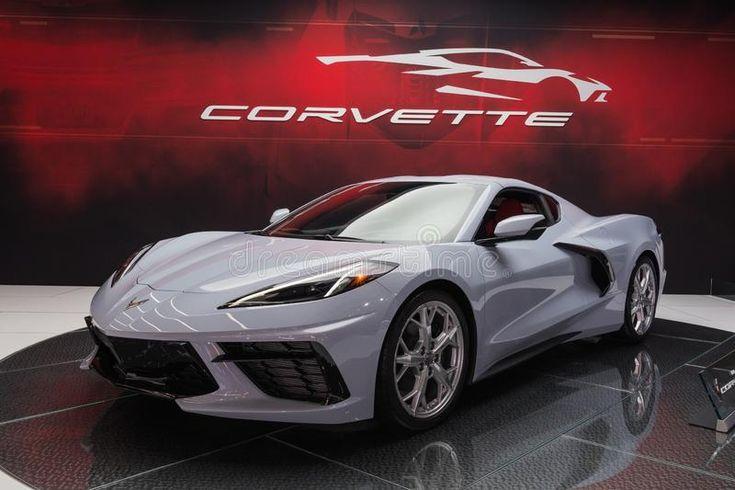 Chevrolet corvette c8 on display during los angeles auto