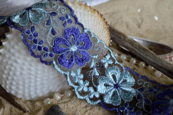 two tone blue lace, flower, polyester thread, embroidered, finished edges, tulle. (bl015) by TheQuiltedCheese on Etsy