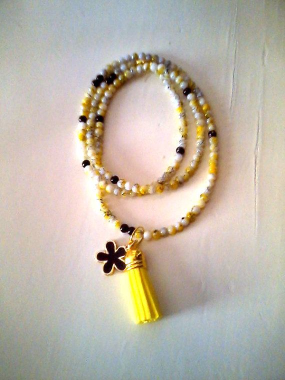 New Yellow charm necklace by KaterinakiJewelry on Etsy, $7.00