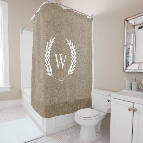 Farmhouse Rustic Faux Burlap Laurels Monogram Shower Curtain