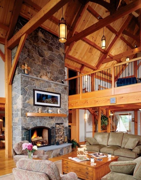 In timber homes where post and beam construction makes for Post and beam living room ideas