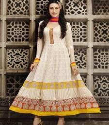 Buy Karishma Kapoor Latest Designer OffWhite Anarkali Suit semi-stitched-salwar-suit online