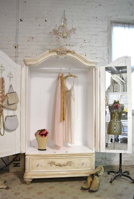 """Painted Cottage Chic Shabby TeaStain Romantic by paintedcottages, $1425.00  For """"sale"""" rack outside? add wheels…."""
