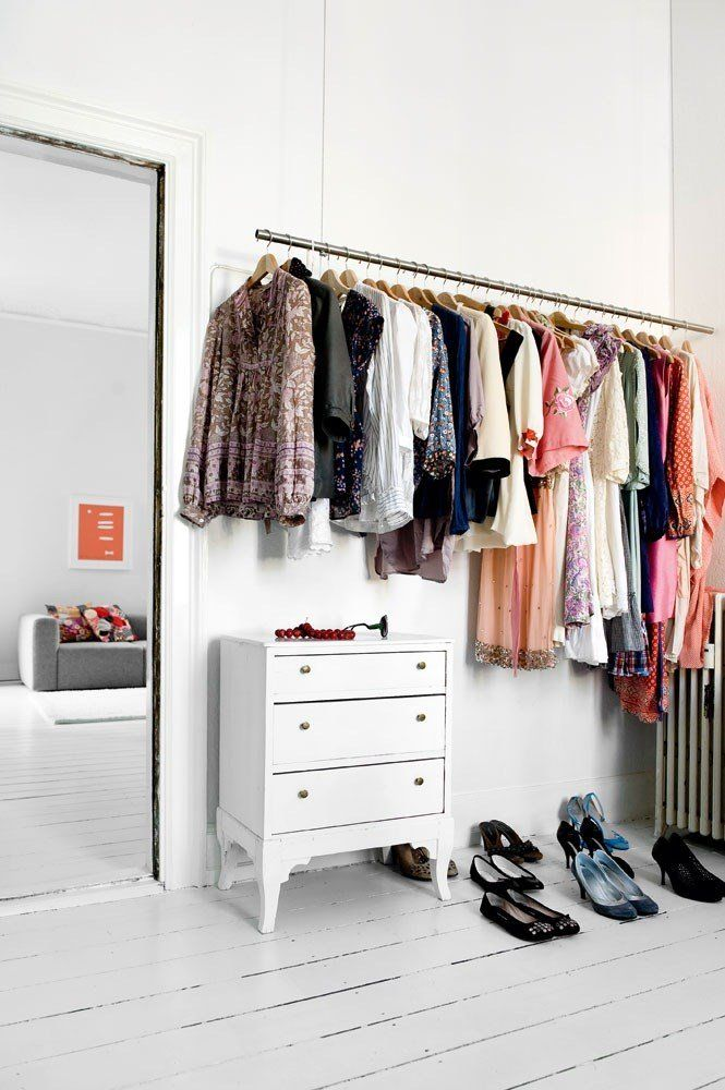 A Closet E Or Perhaps An Entire Room For Wardrobe Especially The White Painted Floors And Furniture With Hanging Clothing