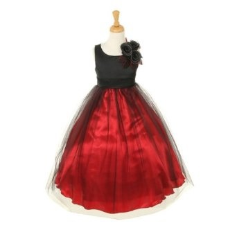 Cinderella Couture CC1111-Dull Satin long tulle dress with shoulder flower corsage  $129.99  Available in Black/Red and Black/Silver  Sizes 2-12  Fabric:Matte Satin and Tulle  Made in USA