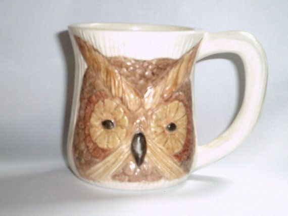 Vintage Ceramic Owl Mug by ItHasGotToGo on Etsy  **SOLD**