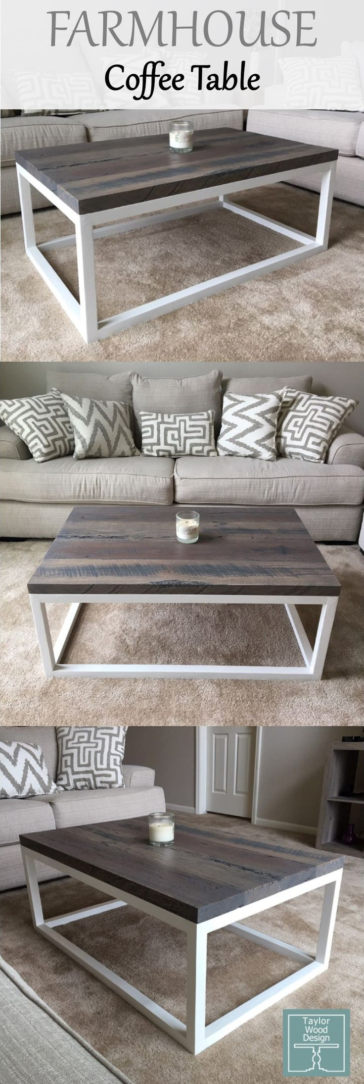 Our farmhouse coffee table we built from solid oak…