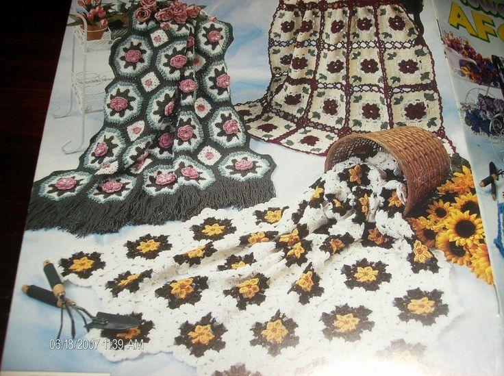 🌻 🌻 Afegãos Crochê Padrões Flores de Jardim Elegantes Pontos -  / 🌻 🌻 Afghans Crocheting Standard Flowers Garden Classy Stitches -
