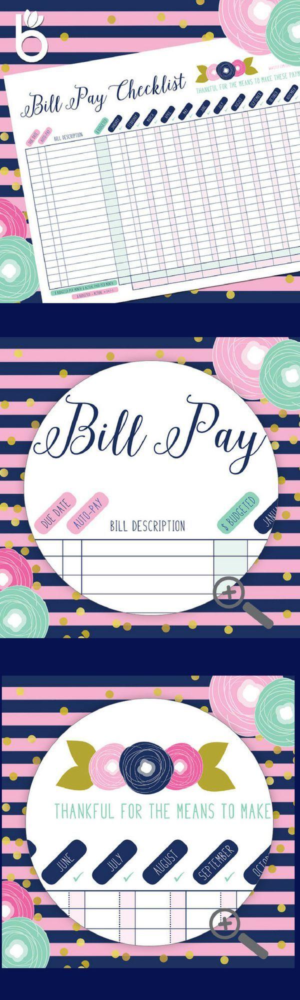 Bill Organizer, Bill Paying Organizer, Monthly Bills Organizer, Bill Tracker, Bill Pay, Bill Pay Tracker, Budget, Family Planner, Printable #budget #bills #organization #affiliate