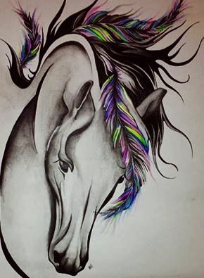 horse feather colored tattoo ink body art