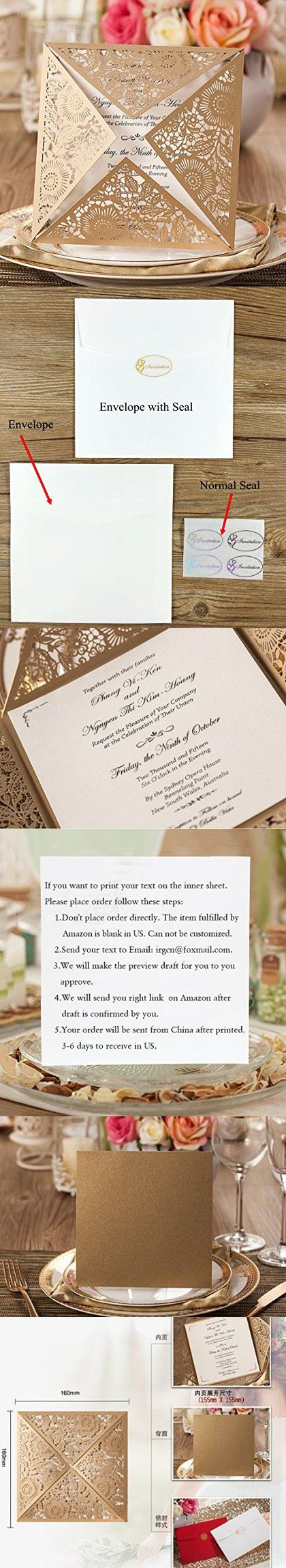 wedding invitation sample by email%0A Doris Home wedding invitations wedding invites invitations cards wedding  invitations kit Doris Home Square Gold Laser