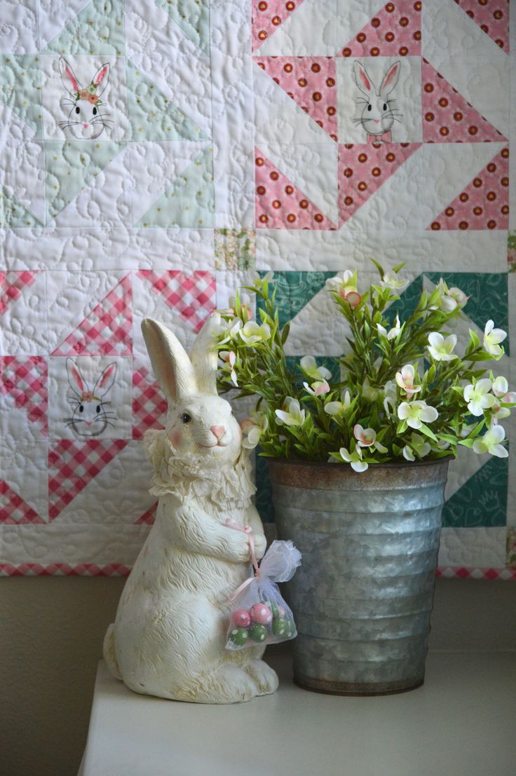 Free quilt pattern - Snuggle Bunny Quilt - Easter Quilt, Spring Quilt