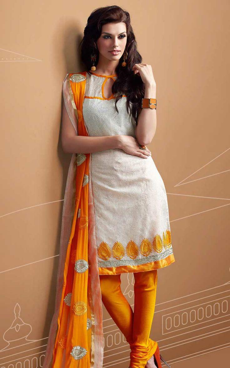 OFF WHITE ORANGE CHANDERI COTTON SALWAR KAMEEZ - RUD 43004A Visit Our Store: http://www.ethnicwholesaler.com/salwar-kameez/designer-salwar-kameez