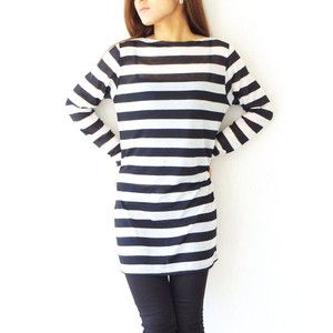 【在庫一掃SALE】カットソー ボーダー 長袖 ネオンカラー Tシャツ ワンピース ブラック 韓国ファッション