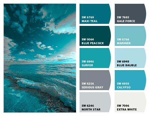 Ocean teals paint color ideas pinterest for Ocean blue color combinations