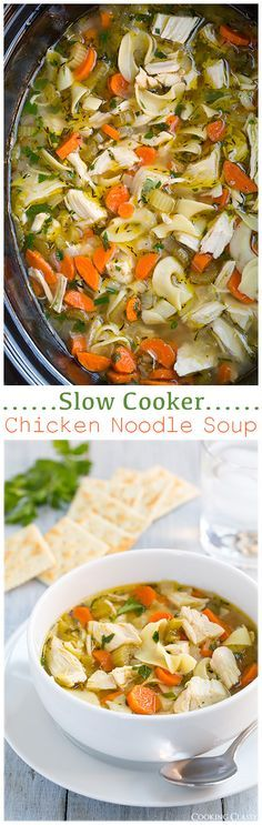 Slow Cooker Chicken Noodle Soup - this is the EASIEST chicken noodle soup! Delicious and perfect for a cold fall day! Use gf noodles!