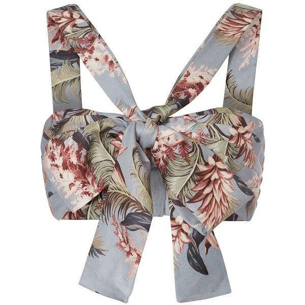 Zimmermann Women's Bow Bralette ($420) via Polyvore featuring tops, floral print tops, floral bralette tops, halter-neck tops, zimmermann and tie halter top