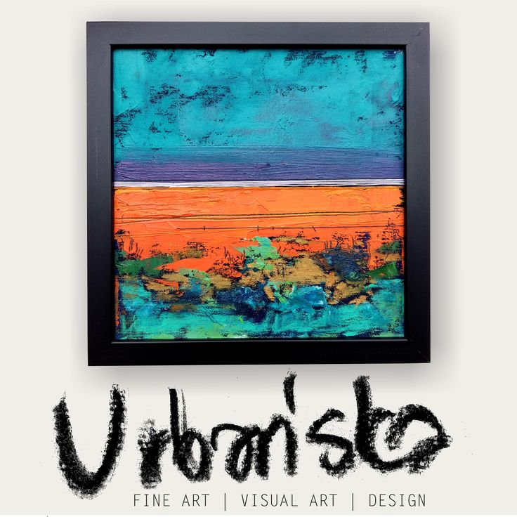abstract landscape oil painting + artistic textile!Series 25x25cm 11/25 /Obraz olejny abstrakcyjny pejzaż + tkanina artystyczna! Cykl 14/25 by KarolinaBUrbanska on Etsy