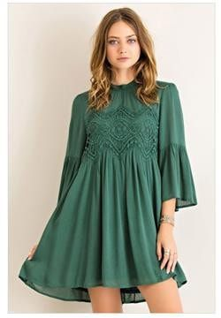 Make room in your closet for the Time To Have Fun Hunter Green Long Sleeve Dress! An amazingly fun dress that is perfect for the weekends. Crocheted detailing across the bust. Lightweight and oh so so