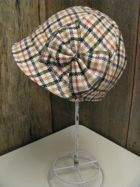 Multi Colour Wool Plaid Cloche Hat with Bow Women's by sugarsoul, $65.00